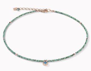 Collier Coeur de Lion cristal bleu pétrole