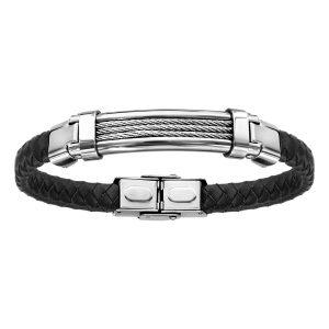 bracelet-homme-acier-cuir-tresse