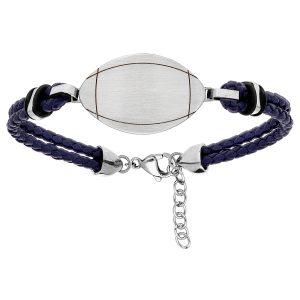bracelet-homme-acier-cuir-tresse-bleu-ballon-rugby