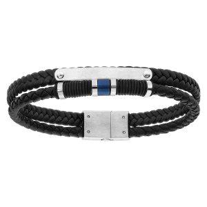 bracelet-homme-cuir-tresse-et-acier-double-rang