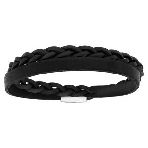 bracelet-homme-cuir-tresse-acier