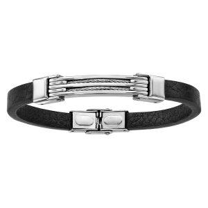 bracelet-homme-acier-cuir