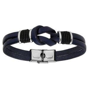 bracelet-homme-acier-cuir-bleu