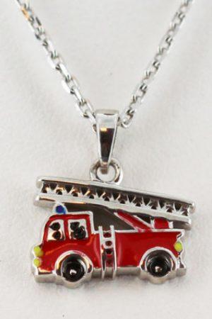 collier-argent-enfant-camion de pompier