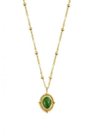 collier-acier-dore-pierre-verte-co88