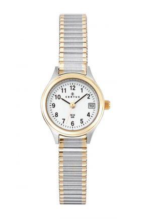 montre-femme-bicolore-bracelet-extensible-acier-622549