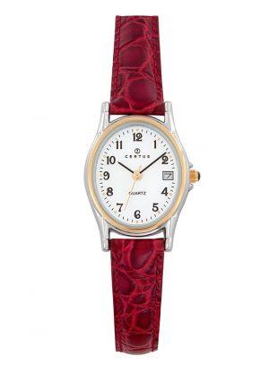 montre-dame-ovale-bicolore-date-bracelet-cuir-645325