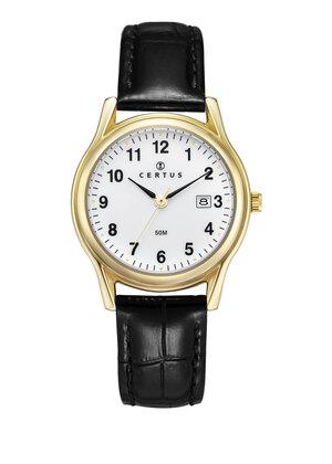 montre-dame-doree-date-bracelet-cuir-646500